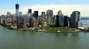 Helikopterblick auf Downtown Manhattan