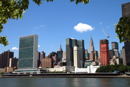 Blick von Roosevelt Island nach Manhattan